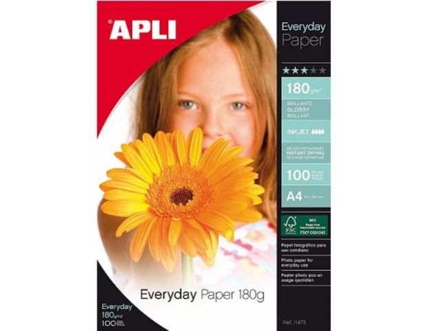 APLI PAQUETE 100H PAPEL 180G A4 INK GLOSSY 11475