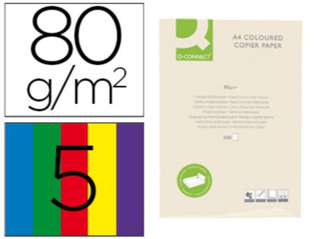PAPEL COLOR Q-C A4 80GR 5 COL. SURT INTENSOS P.500
