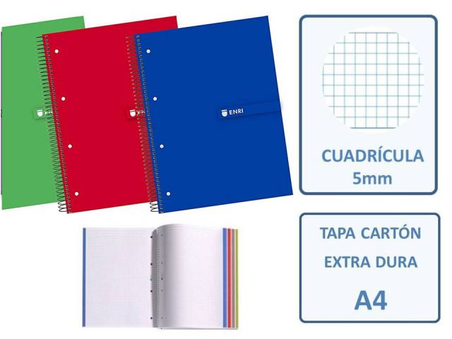 ENRI CUADERNO MICROP. A4 CUADRO 5X5 120+40H