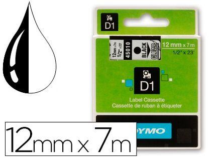CINTA DYMO D1 12MMX7M NEGRO/TRANSP. 45010