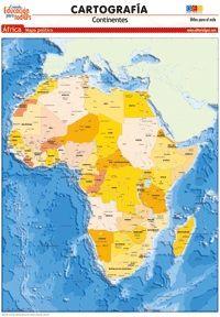 LÁMINAS DIDÁCTICAS. CARTOGRAFÍA. ÁFRICA (POLÍTICO)