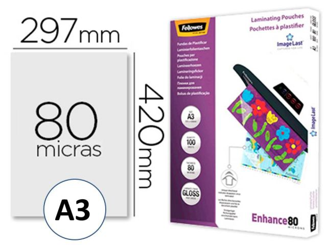 FELLOWES CJ.100 FUNDAS PLASTIFICAR 80MIC A3 530620