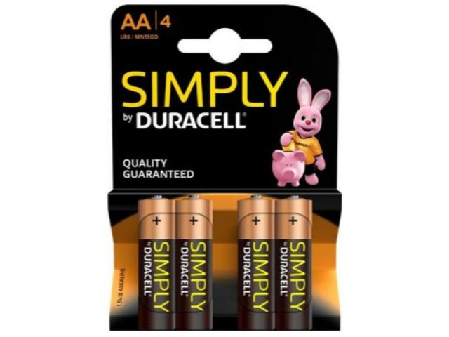 PILAS ALCALINA DURACELL SIMPLY AA LR6 BLISTER 4 U