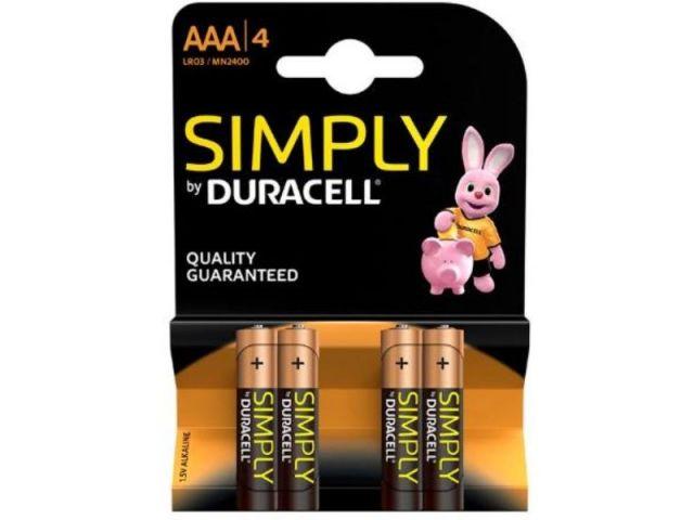 DURACELL LR03 AAA 4 PILAS ALCALINAS SIMPLY
