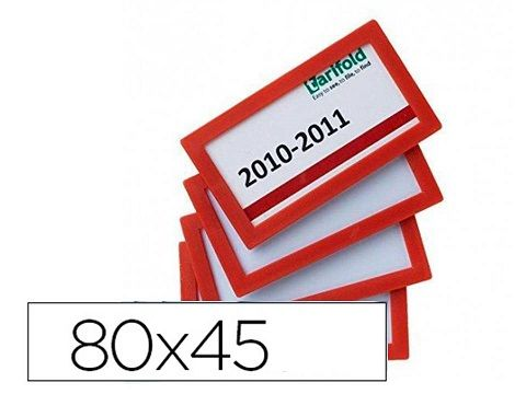 PACK.4 MARCOS PORTANOMBRE 80X45MM - ROJO