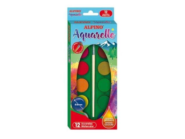 ALPINO ESTUCHE 12 ACUARELAS + PINCEL AQ000001