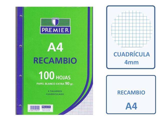 RECAMBIO 100  HOJAS A4 4T 90GR. CUADRO 4X4