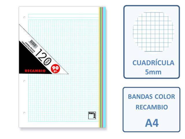 RECAMBIO A4 4T 120H. 90GR. CUADRO 5X5 BANDAS COLOR