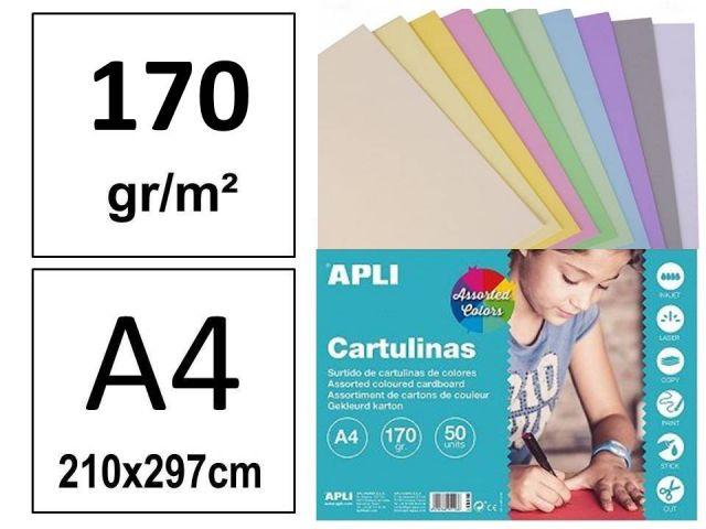 P.50 H.CARTULINA A4 10 COLORES PASTEL SURTIDOS