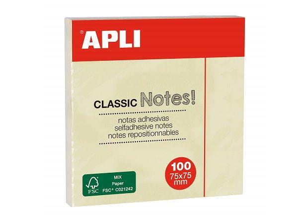 APLI BLOC 100 NOTAS REPOSICIONABLES 75x75 AMARILLO