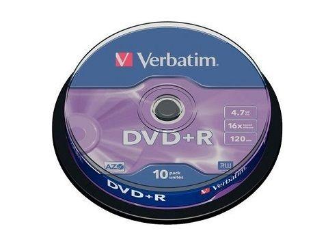 BOBINA 10 DVD+R 4,7GB 120M 16X VERBATIM 43498
