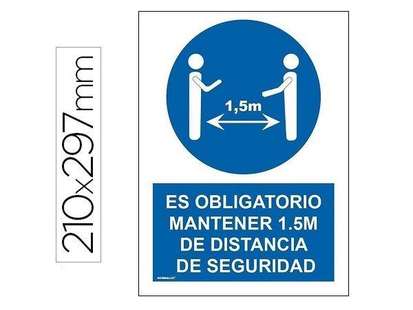 PICTOGRAMA PVC A4 AZ/BL DISTANCIA SEGURIDAD 1,5M