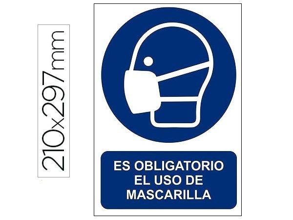 PICTOGRAMA PVC A4 AZ/BL USO OBLIGATORIO MASCARILLA