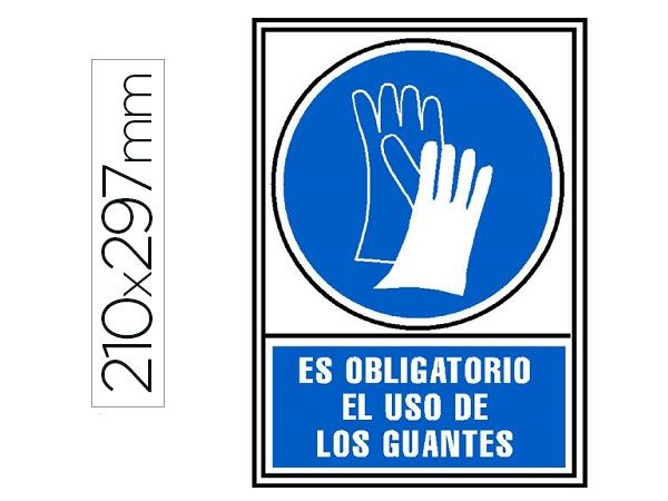 PICTOGRAMA PVC A4 AZ/BL OBLIGATORIO USAR GUANTES