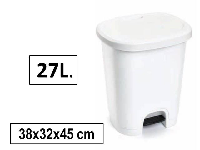 PAPELERA PLASTICO C/PEDAL 27L BLANCA