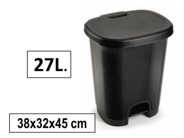 PAPELERA PLASTICO C/PEDAL 27L NEGRO