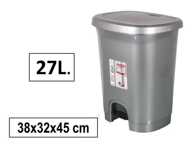 PAPELERA PLASTICO C/PEDAL 27L PLATA