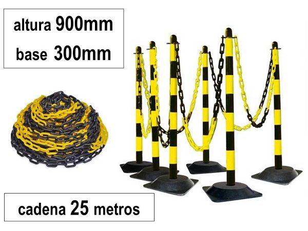 JUEGO 6 POSTES PVC BASE GOMA + CADENA 25mt. NG/AM