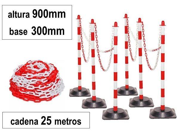 JUEGO 6 POSTES PVC BASE GOMA + CADENA 25mt. RJ/BL