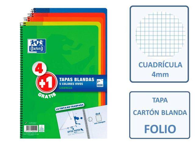 PACK (4+1) CUADERNOS FOLIO 4X4 OXFORD CLASSIC VIVO