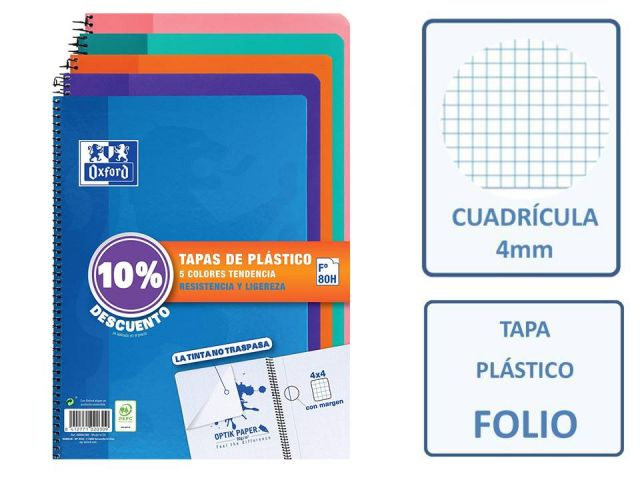 PACK 5 CUADERNOS FOLIO 4X4 OXFORD PP TENDENCIA