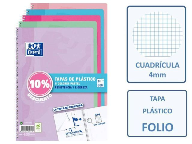 PACK 5 CUADERNOS FOLIO 4X4 OXFORD PP PASTEL