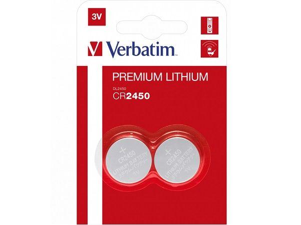 VERBATIM PILAS PREMIUM LITIO BOTON CR2450  2 UDES.