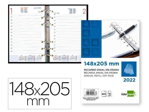 RECAMBIO LIDERPAPEL DIA PAGINA 148X205 2021