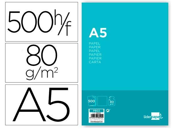 PACK 500 HOJAS PAPEL A5 80 GR. LIDERPAPEL  PB02